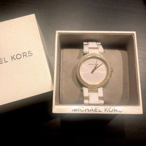 Michael Kors watch in white and gold
